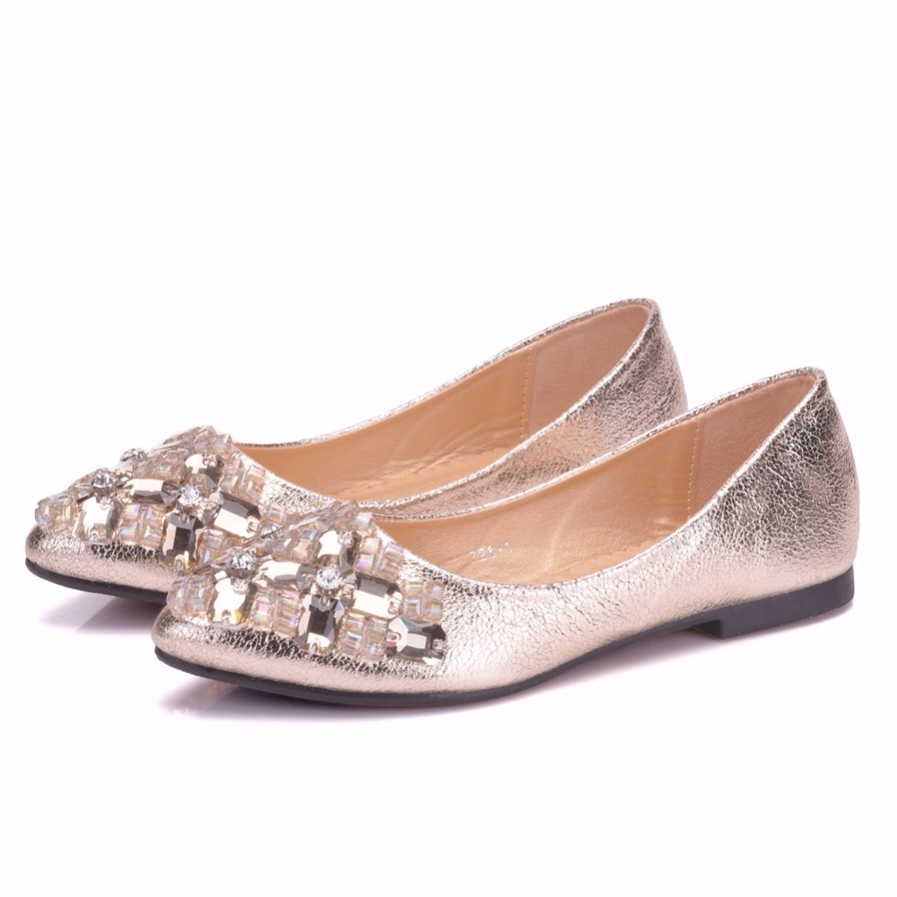 Crystal Queen Women Shoes Rhinestone Pointed Toe Flats With Diamond Women  Shoes Women s Crystal Luxury Flats Women Wedding Shoe da101d8f8521