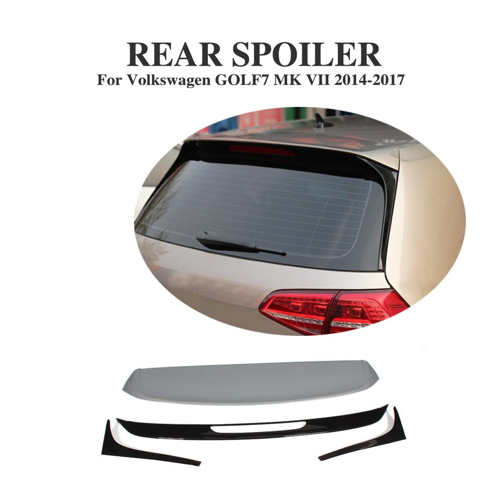 Rear Roof Spoiler Wing Lip for Volkswagen VW Golf 7 VII MK7 2014-2017 Non GTI R ABS Unpainted Window Wing Car Styling side wing rearview mirror cover trim protector chrome decor car styling for vw volkswagen golf 7 mk7 r gti 2014 2017 accessories