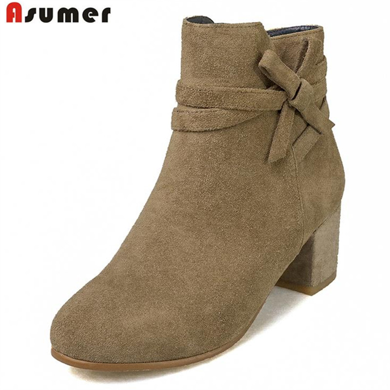 ФОТО ASUMER sweet style round toe ankle boots for women hot fashion genuine leather women boots with comfortable med square heels