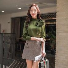 Dabuwawa nuevas faldas a cuadros Vintage mujer moda versátil cintura alta A line Mini Falda corta Color café D18CSK040