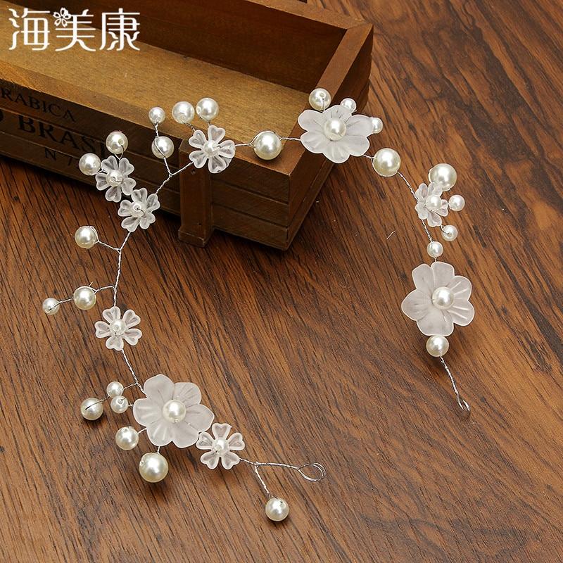 Women Headband Bridal Fashion Jewelry Ivory Pearl Beads Hair Accessories Flower