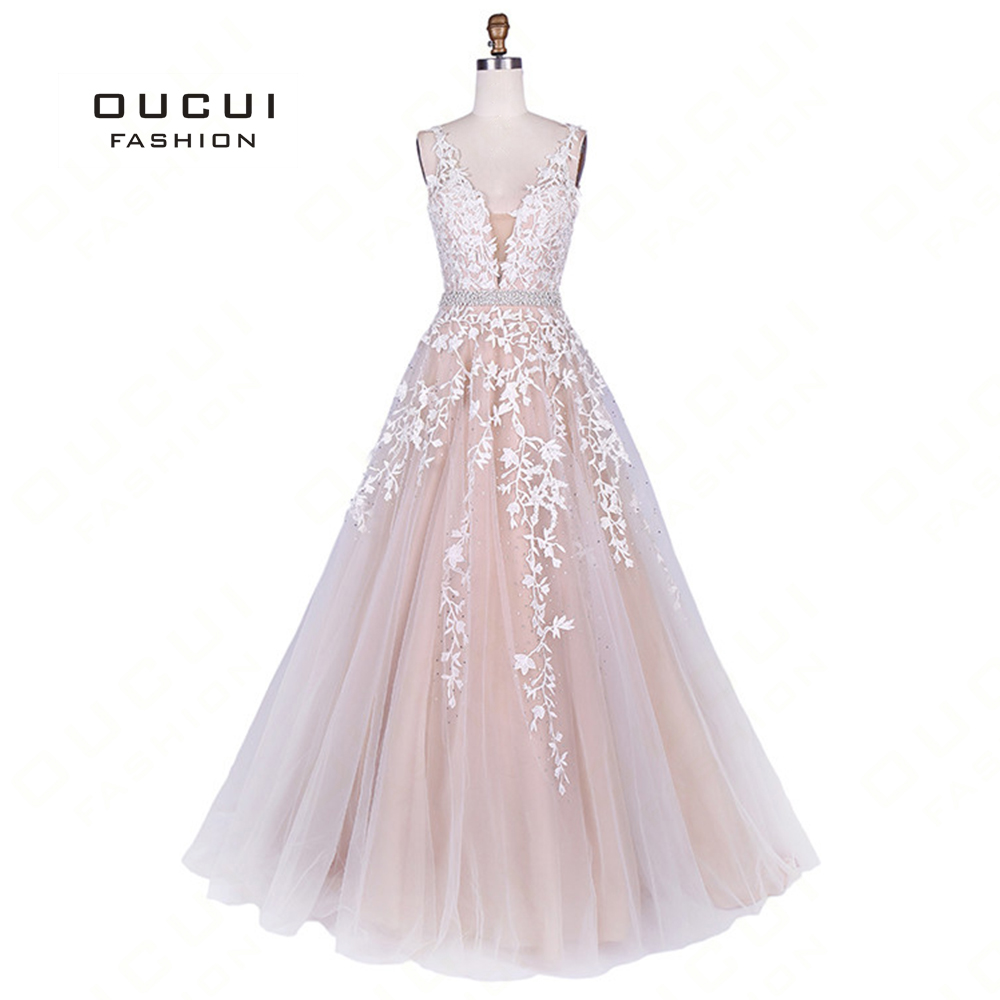 V-Neck Lace Appliques Formal Evening   Dress   Princess 2019 A-line Party Gowns African Vintage Long   Prom     Dresses   Vestido OL103201
