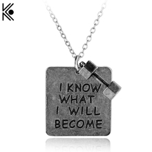 I KNOW WHAT I WILL BECOME Necklace With Dumbbell Motivational Jewelry Gym font b Weight b