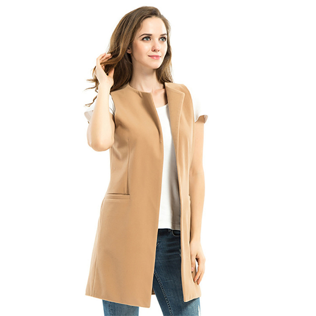 New Women Spring 2016 Wool Blend Vest Waistcoat Ladies Winter Long Camel Vest Sleeveless Jacket Coat Plus Size Veste Gilet A754