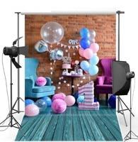 Красочная шар торт Таблица первый день рождения фон винил ткань высокого качества Компьютер печати партии Фон фотографии