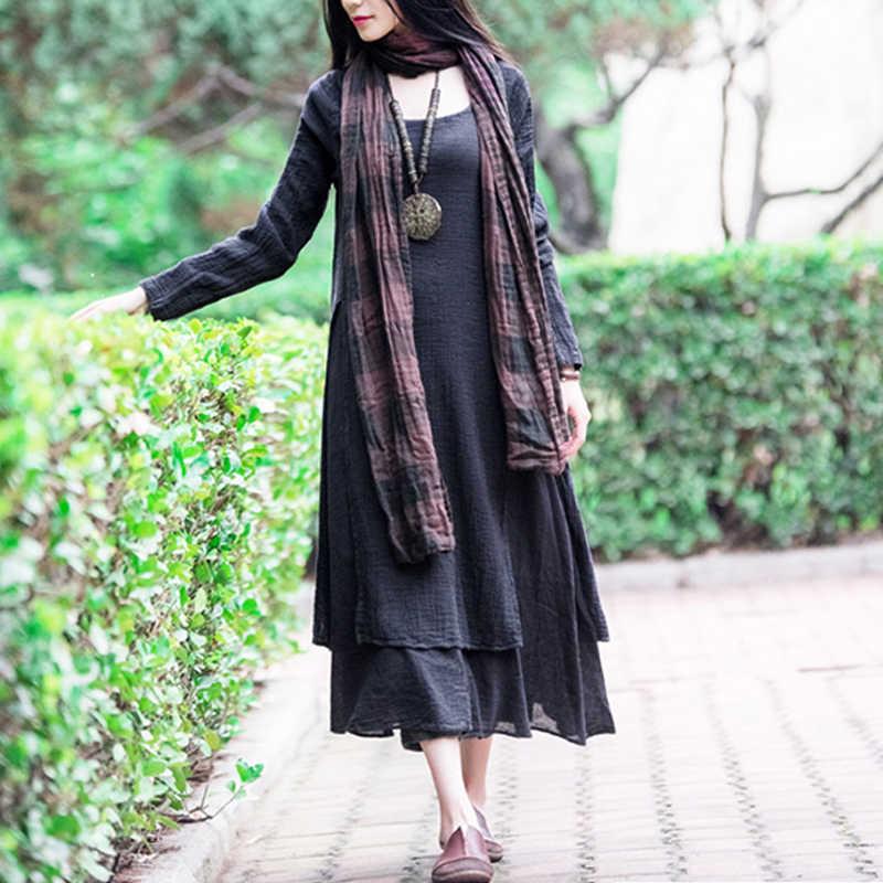 e5df11482e ... Women Casual Dress Loose Long Sleeve Round Neck Solid Spring Autumn  Dress Cotton Linen Long Maxi ...
