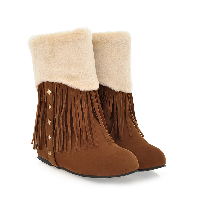 ФОТО ARMOIRE Brand New Hot Sales Women Snow Boots Brown Yellow Gray Apricot  Ladies Shoes Tassel Fringe A7299 Plus Big Size 33 42