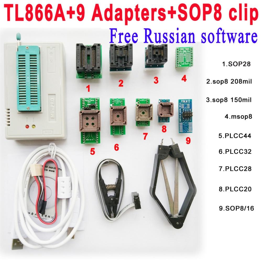 Free Russian software Original Minipro TL866A programmer 9 adapter socket SOP8 Clip IC clamp V6 6