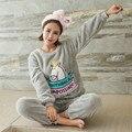Adulto Mulheres Conjuntos de Fatos de Pijama de Flanela Unicórnio kawaii Animal Dos Desenhos Animados Pacote de Espessura de Pelúcia Pijama Camisola Traje Sleepsuit Rosa