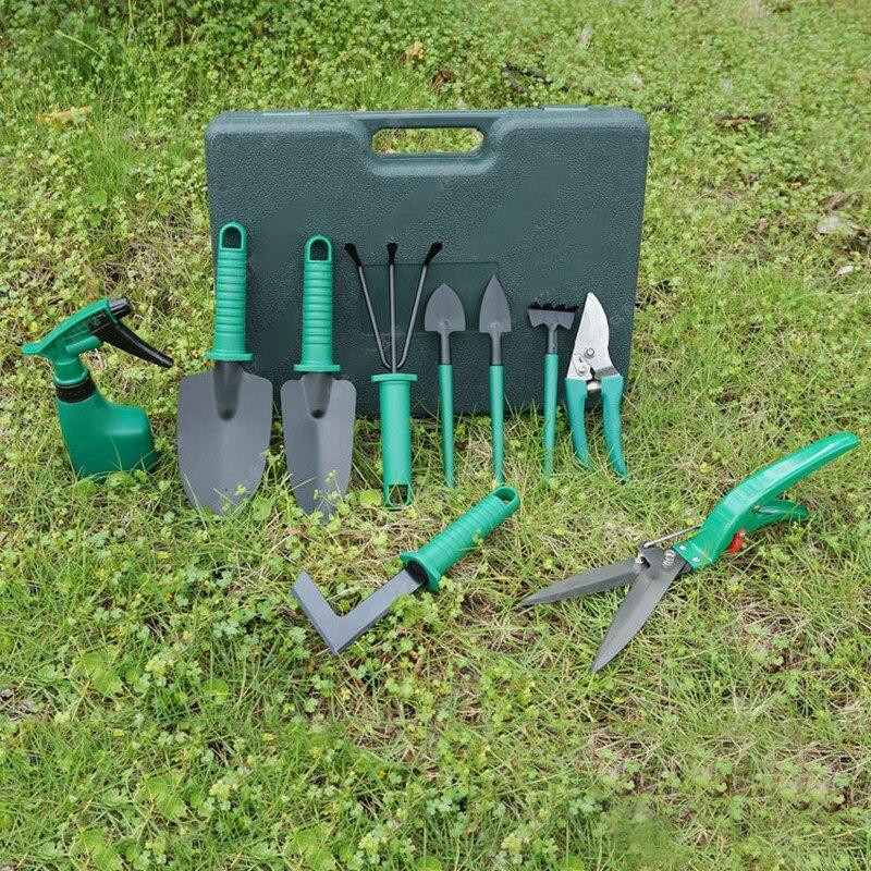 10pcs/Set Garden Tool Set Grafting Tool Round and Sharp Shovel Rake Weeding Knife Spray Bottle Fruit Tree Pruning Shears