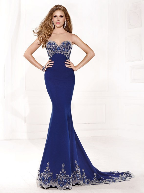 Long Prom Dresses Mermaid Royal Blue Chiffon Beaded Appliques See