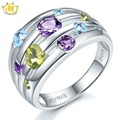 Hutang Natural Amethyst Wedding Rings Peridot Topaz 925 Sterling Silver Multi Gemstone Ring Fine Elegant Jewelry for Women Gift
