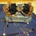 2016 diseño moda Eyewears lujo barroco Retro de Metal hechos a mano de perlas flor de mariposa mujer estilo Vintage gafas de sol
