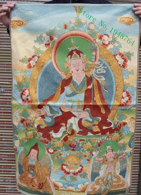 Tibet Tibetan Cloth Silk Rulai Guru Padmasambhava Rinpoche Tangka Thangka Mural