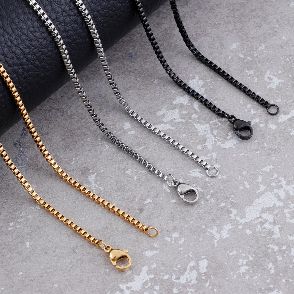 2mm Stainless Steel Link Box Chain Female Gold/Silver/Black Chokers Necklaces For Women Fashion Jewelry