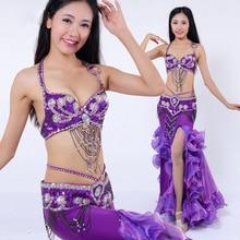 2018 Performance Belly Dancing Costumes Oriental Dance Outfits 3pcs Women Belly Dance Costume Set Bra Belt Skirt
