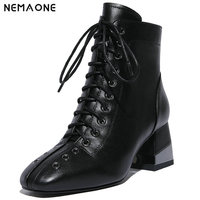 NemaoNe Ankle boots for women genuine leather ladies boots chelsea women black brown square toe square heeled winter boots
