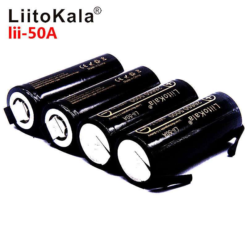 LiitoKala Lii-50A 26650 5000mAh lithium battery, 3.7V 5000mAh, 26650 rechargeable battery, 26650-50A suitable +DIY Nickel sheets