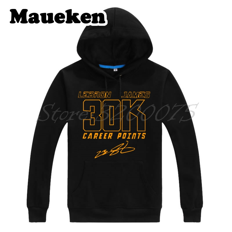 Men Hoodies LeBron James 23 Cleveland 30,000 Career Points 30K Sweatshirts Thick for Cavaliers fans Autumn Winter W18020118