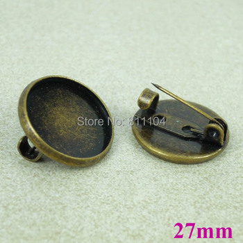 27mm Antique Bronze Plated Blank Circle Tray Caps Cabochon Brooch Bases Settings Pins Clip Diy Brooches Wholesale