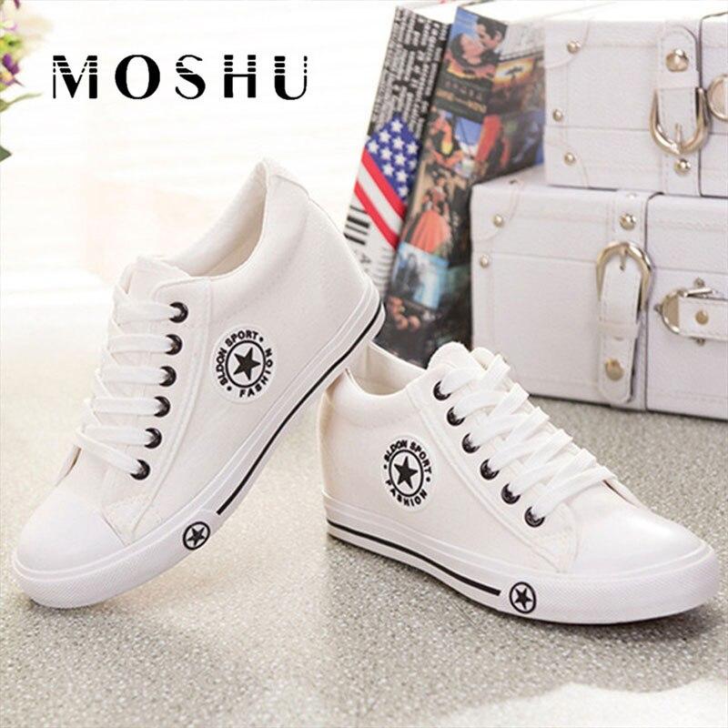 Zapatillas de deporte de verano cuñas Zapatos de lona de las mujeres Zapatos casuales Zapatos de Mujer blanco estrellas cesta Zapatos Mujer Zapatillas 5 cm altura de tenis