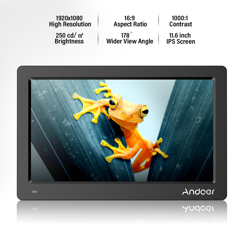 Andoer 11 6 FHD 1920x1080 IPS Screen Digital Photo Picture Frame Support Calendar Clock MP3 Photos