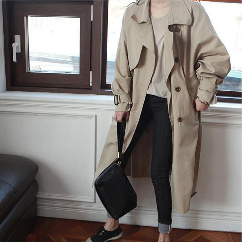 Korean Loose style big size double breasted women khaki trench coat high quality elegant spring autumn windbreaker outwear