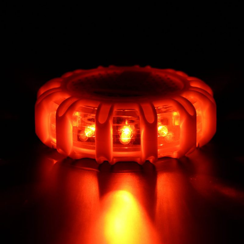 Mini 12 LED 8 Mode Emergency Safety Road Flare Flashing Warning Light Magnetic Base Disc Beacon For Car Truck Boat