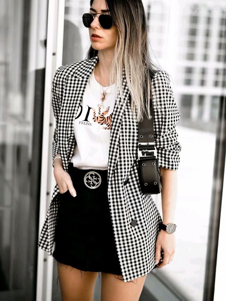 Fashion BSK Vintage Women Plaid Notched Blazer Elegant Office Lady Work-Wear Casual Female Outfits Casaco