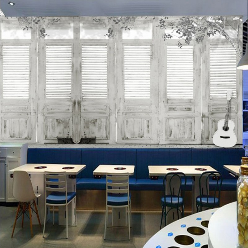 Hand painted black and white minimalistic wooden plank door guitar backdrop wallpaper restaurant cafe decorative mural