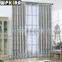 European Velvet Curtains For Living Room Grey Luxury Embroidery Blind Drapes Window Panel Fabric Curtain For