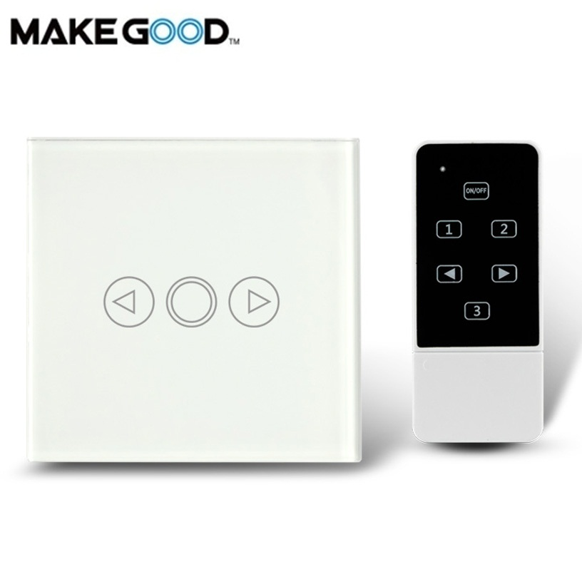 MakeGood UK Standard Wall Light Touch Remote Dimmer Switch Crystal Glass Panel, Smart Switches Compatible Broadlink RM2 RM Pro smart home 1gang1way golden crystal glass panel eu standard remote touch dimmer switches led wall light dimmer remote switch