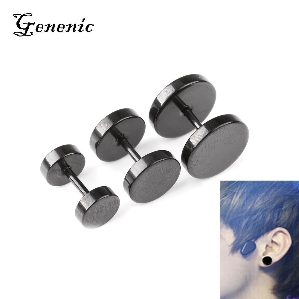1Pair 2pcs Unisex Men Barbell Punk Gothic Stainless Steel Ear Studs Earrings CXL