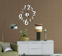 Free Shipping NEW Arrive DIY 100 Bed Room Acrylic Digital 3D Firgure Wall Clock Mirror Sticker