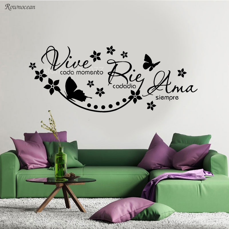 Vinyl Wall Stickers Spanish Saying Vive Cada Momento Rie Cada Dia Ama Siempre Decal Wallpaper For Living Bedroom Home Decor H537
