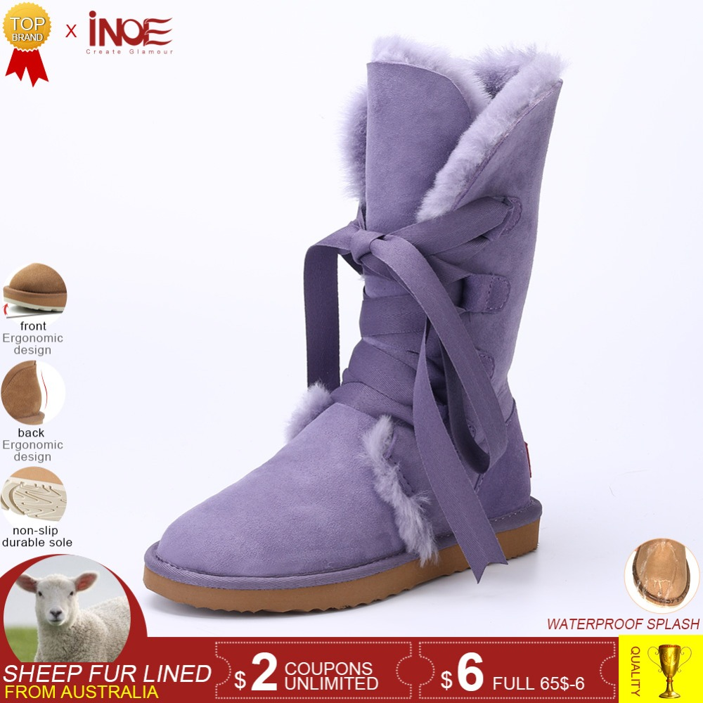De Inoe Up Lace Bottes En Femmes Chaussures light Hiver Arc Noir Mouton Neige Mode Green Noeud Haute Blue Black sand lake chestnut Red supphire red Yellow Peau lemon Doublé D'hiver Violet rose Violet Pour Cuir Laine Fourrure Pink dream qrq5vd