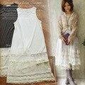 Verano de las mujeres japonesas sweet suelta de algodón chaleco costura de encaje floral patchwork vestido lindo lolita dress mori chica femenina a025