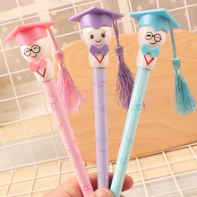 10pcs/lot new arrival school student prize gel pen fresh  0.38 creative cartoon character black