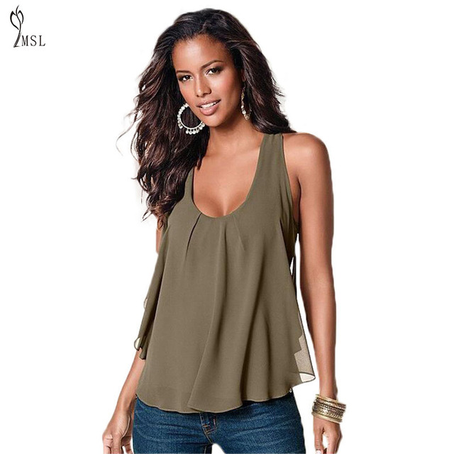 # 2016 Summer T Shirt Women Chiffon T Shirt Plus Size Solid Sleeveless Loose Backless Sexy O-neck Casual Women Tops Clothing