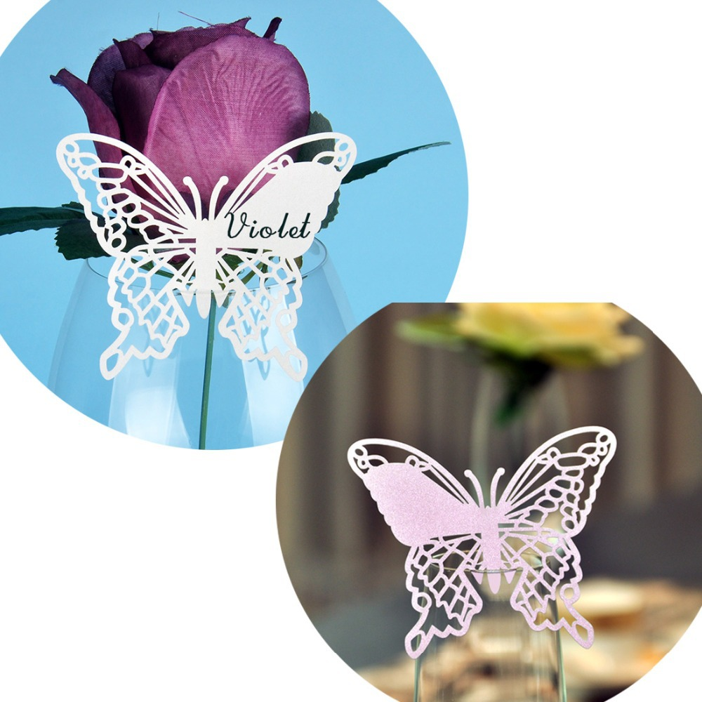 Aliexpress.com : Buy 12PCS Souvenirs Ivory Violet Laser Cut Butterfly Wine Glass  Table Name Place Seat Card For Party Wedding Favors And Gifts Decor From ...