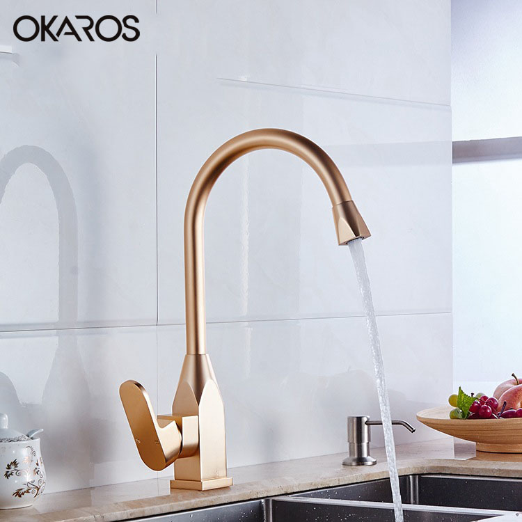 2016 Newest Kitchen Faucet Space Aluminum Gold Single Handle Hot And Cold Water Vessel Sink Basin