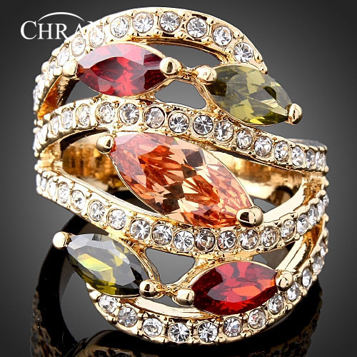 CHRAN Elegant Gold Color Crystal Rings Brand Jewelry Gifts Luxury AAA Cubic Zirconia Wedding Rings for Women