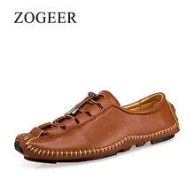 ZOGEER Hecho a mano zapatos hombre, Diseño marca zapatos hombre casual, Respirable Atarse los cordones mocasines hombre cuero