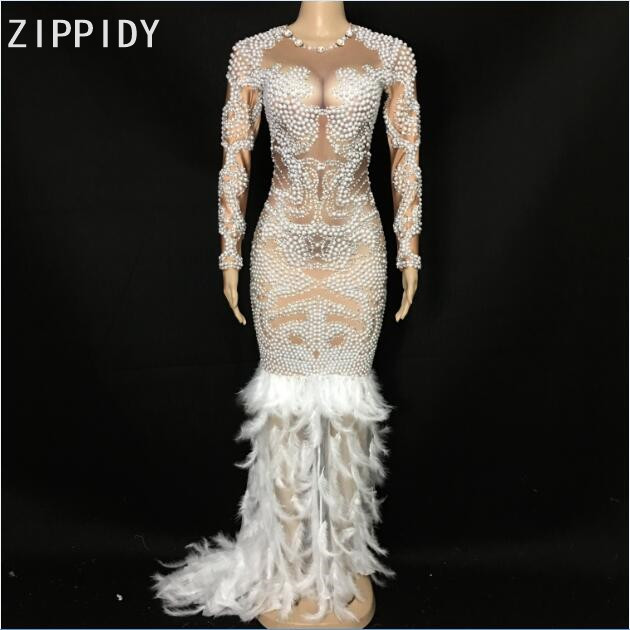 Luxury Rhinestones Pearls White Feather Dress Birthday Party Celebrate Outfit Female Singer Costume Stage Performance Dress
