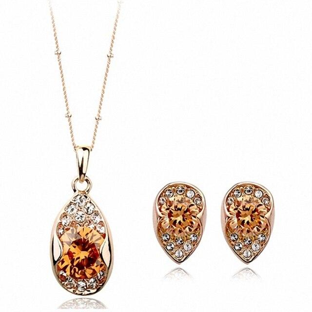 2016 New Sale Real Brand Jewelry sets for women Genuine Austrian Crystal    Fashion Jewelry Set #RG12481+RG13408