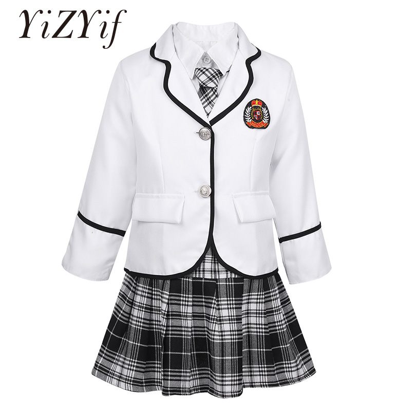 YiZYiF Kids Girls School Uniform British Style Anime Costume Long Sleeve Coat with Shirt Tie Mini Skirt School Girls Clothing
