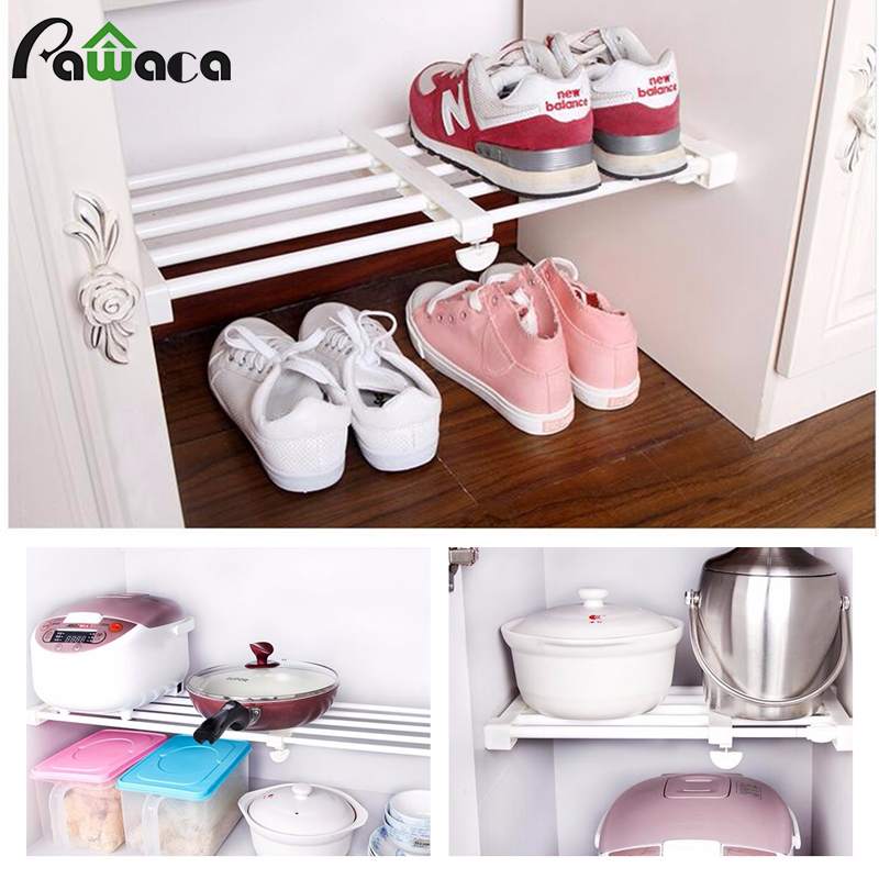 Save E Wardrobe Storage Rack Free Telescopic Er Frame Bathroom Shelves Clothes Shoes Closet Holder Kitchen Organizer