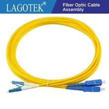 10 개/가방 lc upc sc upc 3 m 단일 모드 이중 광섬유 패치 코드 LC SC 3 m 2.0mm 또는 3.0mm ftth 광섬유 점퍼 케이블