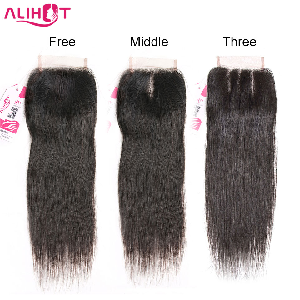 ALI HOT Brazilian Remy Straight Hair Lace Closure 4*4 Inch Sizes Free Part 130% Density 100% Human Hair Natural Color Closure
