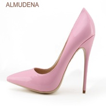 ALMUDENA Young Girl s Top Brand Pink Patent Leather High Heel Shoes Sweet Stylish  Office Lady Daily f477cc610772